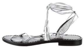 Anine Bing Metallic Lace-Up Sandals