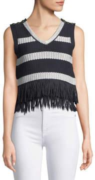 Club Monaco Olivina Sleeveless Fringe Sweater