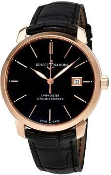 Ulysse Nardin San Marco Classico Black Dial 18kt Rose Gold Black Leather Men's Watch