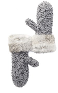 Surell Genuine Rabbit Fur Cuff Knit Mittens