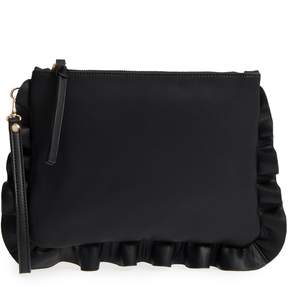 Sole Society Adelina Faux Leather Ruffle Clutch