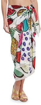 Anna Coroneo Cotton Voile Fruit Scarf, White/Multicolor