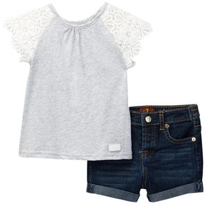 7 For All Mankind Top & Short 2-Piece Set (Baby Girls)