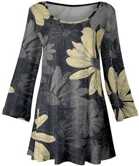 Lily Gray & Cream Floral Sketch A-Line Tunic - Women & Plus
