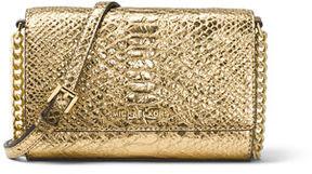 MICHAEL Michael Kors Ruby Medium Metallic Leather Clutch Bag - GOLD - STYLE
