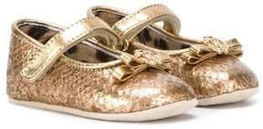 Roberto Cavalli metallic crib shoes