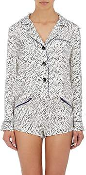 Fleur Du Mal Women's Dot-Print Silk Pajama Shirt