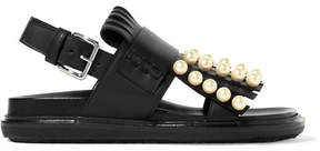 Marni Embellished Fringed Leather Slingback Sandals - Black