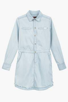 7 For All Mankind Girls S-Xl Long Sleeve Tencel Chambray Shirtdress In Bleached Out