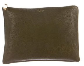 Smythson Stingray-Trimmed Leather Pouch