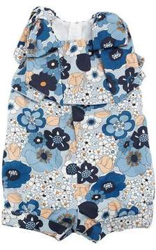 Chloé Allover Flower-Print Playsuit w/ Bow Shoulders, Size 6-18 Months