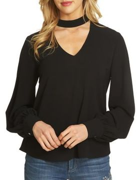 CeCe Choker Textured Blouse