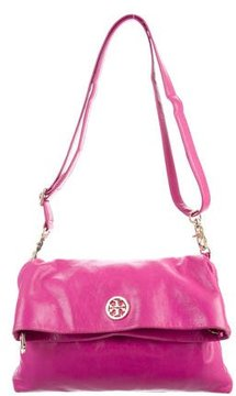 Tory Burch Leather Fold-Over Crossbody Bag - PINK - STYLE