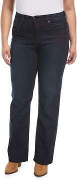 Melissa McCarthy Slim Boot-Cut Jeans with Faux-Leather Detail
