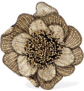 Etro Beaded Corduroy Brooch - Gold