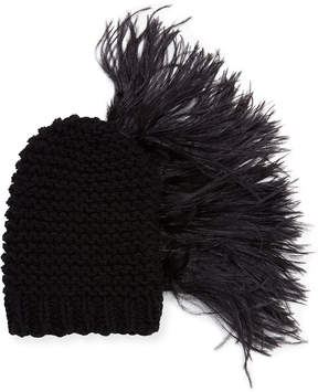 Neiman Marcus Gigi Burris Claudelle Wool-Cashmere Knit Beanie w/ Feather Plume