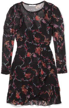 IRO Loxie Printed Ruffled Georgette Wrap-effect Mini Dress - Black