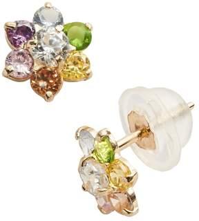Junior Jewels 14k Gold Cubic Zirconia Flower Stud Earrings - Kids