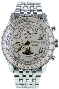 Breitling MonteBrillant Eclipse A43030 Stainless Steel White Dial Automatic 42mm Mens Watch 2000