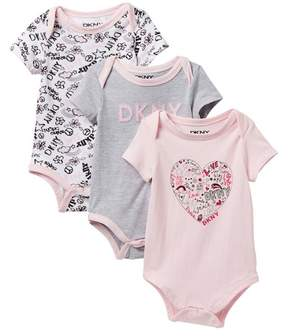 DKNY Shine Bright Assorted Bodysuits - Set of 3 (Baby Girls 0-9M)