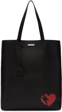 Saint Laurent Black Heart and Lightning Bolt Bold Tote