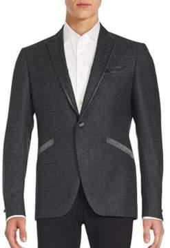 John Varvatos Textured One-Button Virgin Wool Blazer
