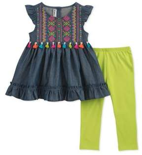 Kids Headquarters Little Girl's Two-Piece Cotton Tunic and Leggings Set