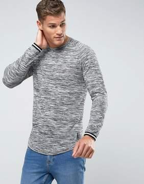 MANGO Man Longline Space Dye Sweater In Gray