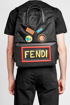 Fendi Backpack with Appliqué and Leather