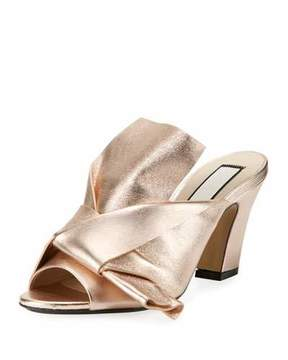 No.21 No. 21 Metallic Leather Chunky-Heel Mule Sandal, Pink