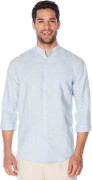 Cubavera Big & Tall 100% Linen Long Sleeve Banded Collar Button Down Shirt