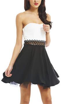 AX Paris Black & White Crochet-Panel Strapless Dress - Women