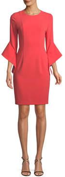 Black Halo Lorie Bell-Sleeve Mini Dress