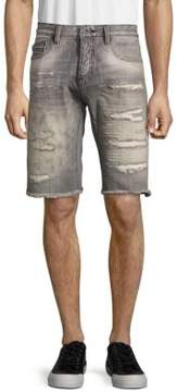 Cult of Individuality Rebel Frayed-Cuff Distressed Denim Shorts