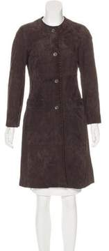 Agnona Suede Knee-Length Coat