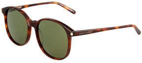 Saint Laurent Havana Round Acetate Sunglasses