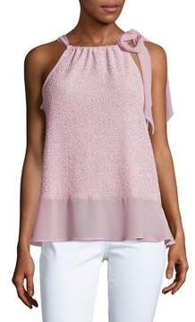 Ellen Tracy Texture Trimmed Halter Top
