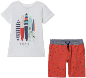 Mayoral White Surfboard Print Tee and Red Printed Shorts Set