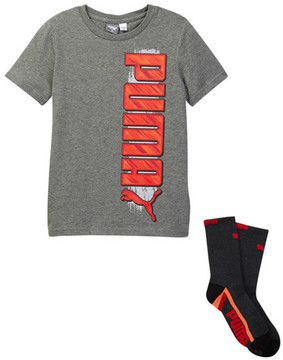 PUMA Graphic Tee & Crew Socks Set (Big Boys)
