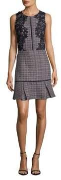 Adelyn Rae Lace & Tweed Flounce Sheath Dress