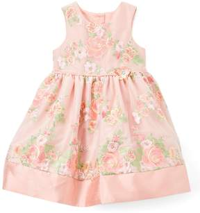 Laura Ashley Peach Floral A-Line Dress - Toddler & Girls
