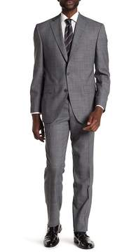 David Donahue Grey Plaid Two Button Notch Lapel Wool Classic Fit Suit
