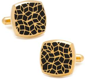 Co Ox and Bull Trading Gold Stainless Steel Geometric Cell Cufflinks.