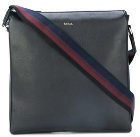 Paul Smith Men's Black Leather Messenger Bag.