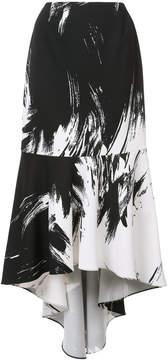 Christian Siriano brush stroke asymmetric skirt