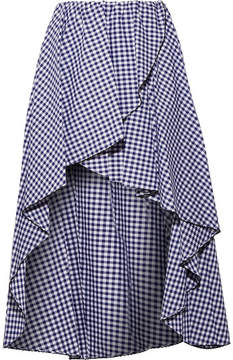 Caroline Constas Adelle Ruffled Gingham Cotton-poplin Skirt - Navy