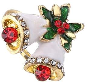 Alpha A A Christmas Gold Tone Holiday Bells Adjustable Ring