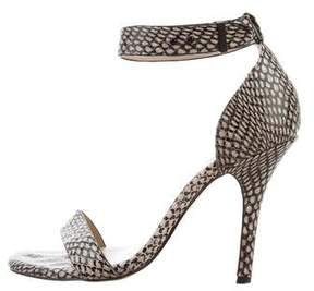 Neiman Marcus Embossed Ankle Strap Sandals