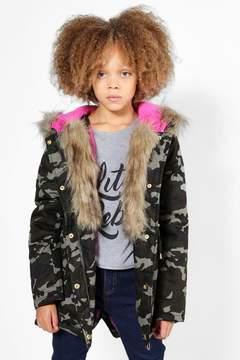 boohoo Girls Camo Padded Natural Faux Fur Parka