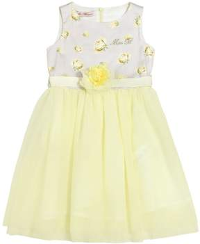 Miss Blumarine Floral Print Cotton Sateen & Tulle Dress